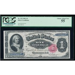 1891 $1 Martha Washington Silver Certificate PCGS 55