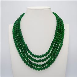 Beautiful 881 Ct Genuine Emerald 4 Strand Necklace
