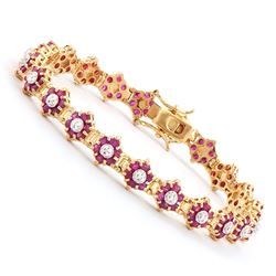 Plated 18KT Yellow Gold 6.55ctw Ruby and Diamond Bracelet