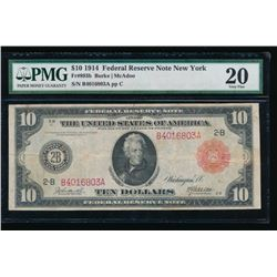 1914 $10 Red Seal New York Federal Reserve Note PMG 20