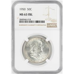 1950 Franklin Half Dollar Coin NGC MS63FBL