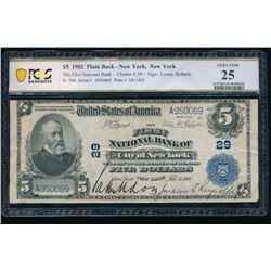 1902 $5 New York NY National Bank Note PCGS 25