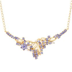 Plated 18KT Yellow Gold 2.55ctw Tanzanite and Diamond Pendant with Chain