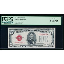 1928D $5 Legal Tender Note PCGS 66PPQ
