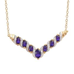 Plated 18KT Yellow Gold 1.70ctw Amethyst and Diamond Pendant with Chain