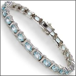 Plated Rhodium 12.55ctw Blue Topaz Bracelet