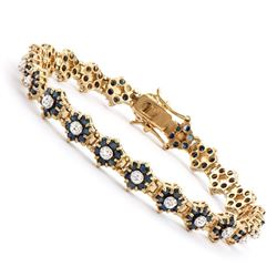 Plated 18KT Yellow Gold 6.55ctw Black Sapphire and Diamond Bracelet