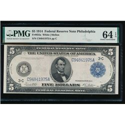 1914 $5 Philadelphia Federal Reserve Note PMG 64EPQ