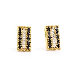 Plated 18KT Yellow Gold 1.02ctw Black Sapphire and Diamond Earrings