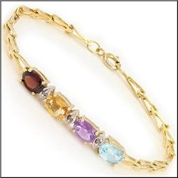 Plated 18KT Yellow Gold 3.02ctw Multi Color Gemstone and Diamond Bracelet