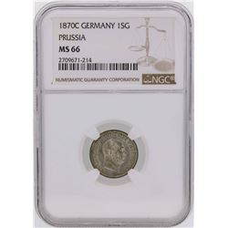 1870C Germany 1 Silber Groschen Prussia Coin NGC MS66