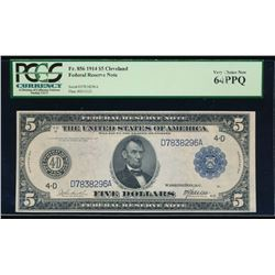 1914 $5 Cleveland Federal Reserve Note PCGS 64PPQ