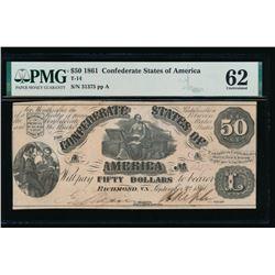 1861 $50 Confederate States of America Note PMG 62