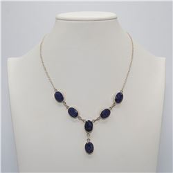 Sterling Silver Natural 47.3 Ct Sapphire Necklace