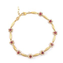 Plated 18KT Yellow Gold 1.25ctw Ruby and Diamond Bracelet