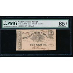 1862 Ten Cent Raleigh NC Obsolete Note PMG 65EPQ