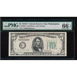 1934D $5 Philadelphia Federal Reserve Note PMG 66EPQ