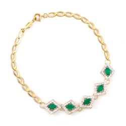 Plated 18KT Yellow Gold 2.05ctw Green Agate and Diamond Bracelet