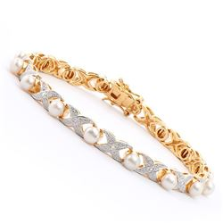Plated 18KT Yellow Gold 6.25ctw Pearl and Diamond Bracelet