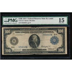 1914 $100 St. Louis Federal Reserve Note PMG 15