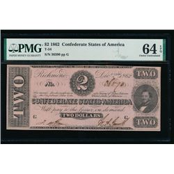 1862 $2 Confederate States of America Note PMG 64EPQ