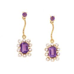 Plated 18KT Yellow Gold 1.79ctw Amethyst and Diamond Earrings