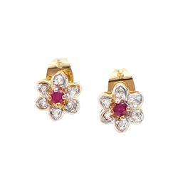 Plated 18KT Yellow Gold 0.20ctw Ruby and Diamond Earrings