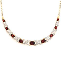 Plated 18KT Yellow Gold 4.86ctw Garnet and Diamond Pendant with Chain