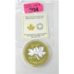 5 Oz. .9999 Fine Silver 2019 Big Series Coin