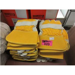 24 Pairs of Leather & Cotton Work Gloves - Size M