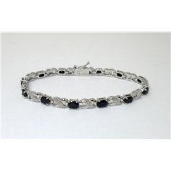 7.8 CTW Blue Sapphire & Diamond Tennis Bracelet