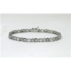 7.15 CTW Blue Topaz & Diamond Tennis Bracelet