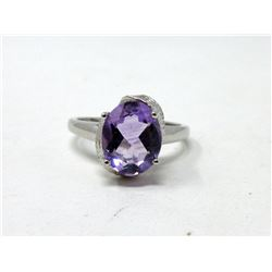 Sterling Silver 2.4 CT Amethyst & Diamond Ring