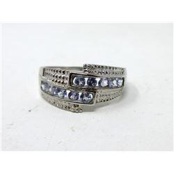Sterling Silver Multi Tanzanite & Diamond Ring
