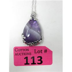 76 CT Amethyst Gemstone Pendant with Chain