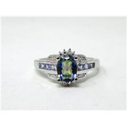 Tanzanite, Diamond & Mystic Topaz Ring