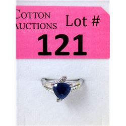 Sterling Silver Sapphire & Diamond Solitaire Ring