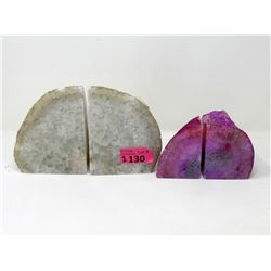 1 Grey & 1 Pink Brazilian Agate Crystal Bookend Set