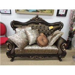 New Ornate Loveseat with 6 Throw Cushions