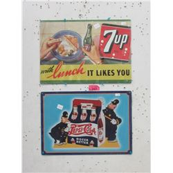 New Tin Pepsi-Cola and 7-UP Sign