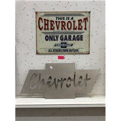 1 Sheet Metal and 1 Tin Chevrolet Sign