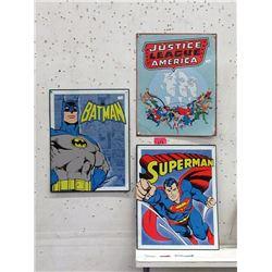 """3 Super Hero Tin Signs - 12"""" x 16"""" each"""