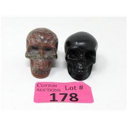 "2 Carved Gemstone Stone Skulls - 2"" Diameter"