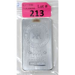 10 Oz. Royal Canadian Mint .9999 Silver Bar