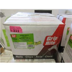 "Two 22.67 KG Boxes of Grip Rite 3.5"" Spiral Nails"