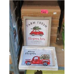 "11 Boxes of 2 New 8"" x 10"" Wood Christmas Wall Art"