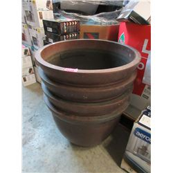"4 Large Resin Patio Planters - 18"" deep x 22"""