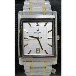 New Mans Bulova Diamond Dial Calendar Watch