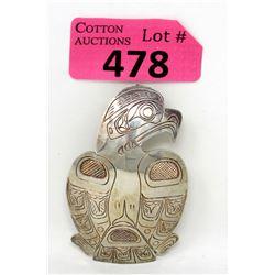 Signed Large Haida Eagle Metal Pendant