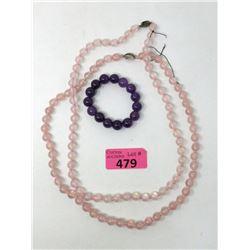 2 Rose Quartz Necklaces & Amethyst Bracelet
